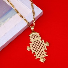 Big Ethiopian Cross Pendant Chain Necklaces Gold Color Eritrea Jewelry Africa Crosses