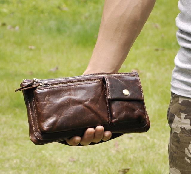 Embalagem saco da cintura do vintage 100% genuíno couro de couro Ocasional saco peito homens bloco de fanny cinto saco de dinheiro sacos de embreagem