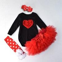 Infant Girls Clothing Suits 4PCS Lovely Black/White Long sleeved Bodysuits+Skirt+A Pair Socks +Headband Children Costume Sets