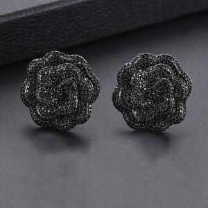 Image 3 - GODKI 25mm אלגנטי רוז פרח מעוקב Zirconia עגילים קטנים נשים חתונה שכבות עגילי boucle doreille femme 2018
