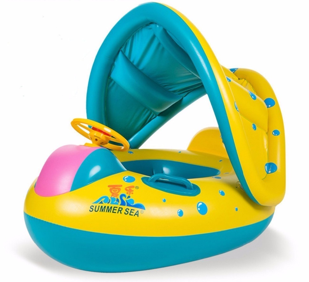 Top Quality Colorful Cartoon Baby Swimming Rings Fish Float With Sunshade/Adjutable Swimming Inflatable Boat