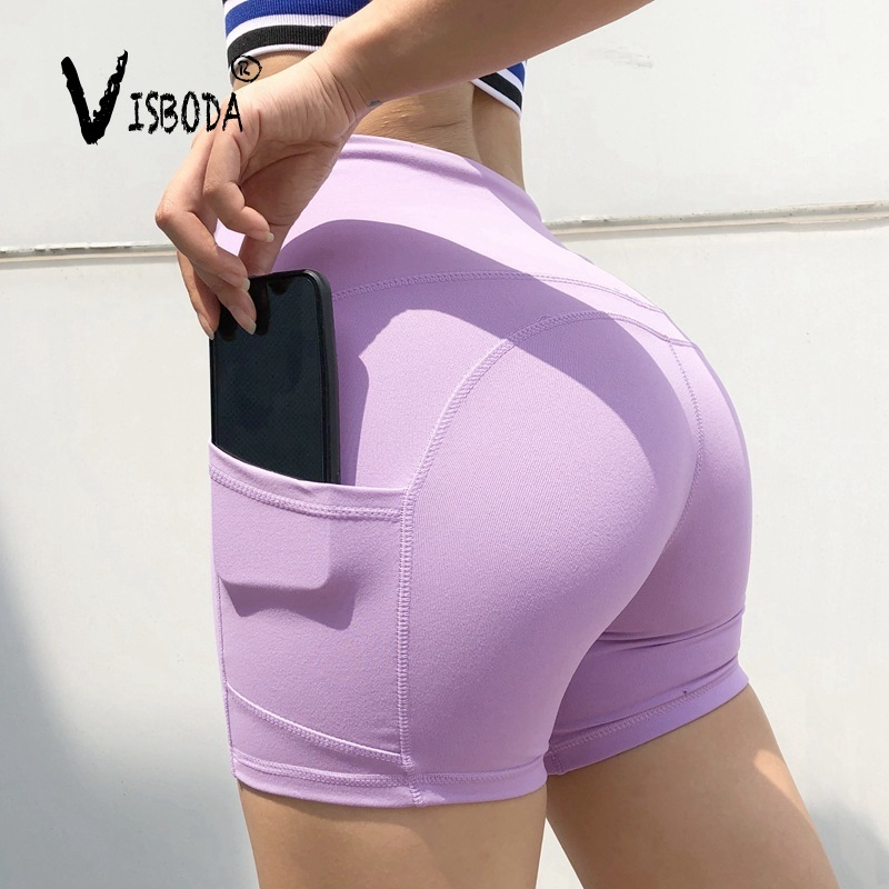 Women Pockets Workout Short Leggings Pink High Waist Push Up Leggings Fashion Ladies Fitness Cycling Spandex Legging Pants Femme