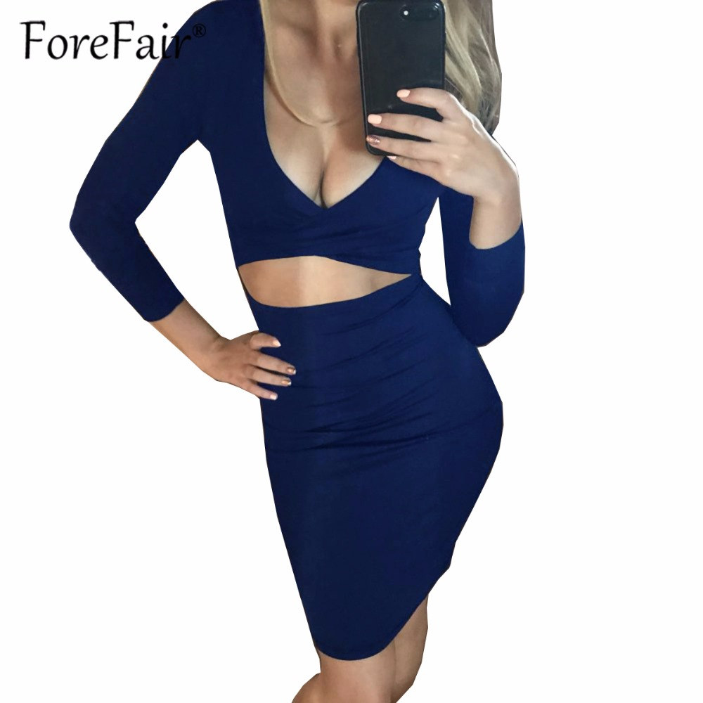 Forefair Sexy Criss Cross V Neck Bodycon Dress Women Autumn Winter Long Sleeve Night Club Wear Party Dresses Vestidos de festa 3