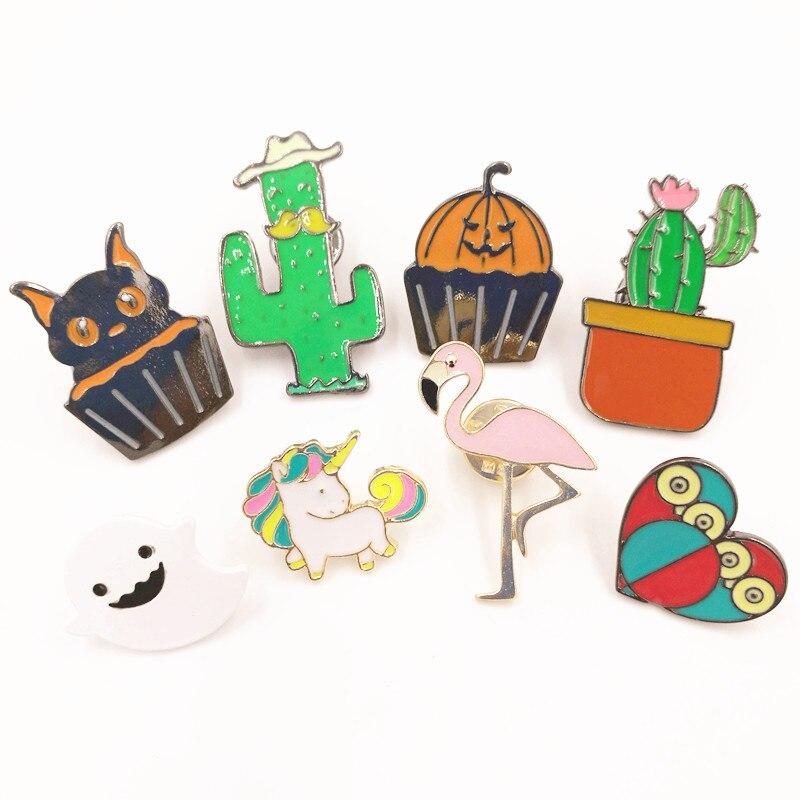 X147 Cartoon Cute Halloween <font><b>Ghost</b></font> Pumpkin <font><b>Cup</b></font> Cake Cat Flamingo Bird Owl Heart Unicorn Cactus Metal Brooch Pins Wholesale