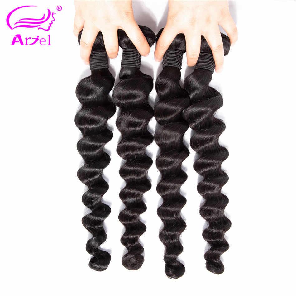 Ариэль свободные глубокая волна Связки индийский пучки волос плетение 100% Связки человеческих волос 8-26 дюймов 1/4/3 шт, не Волосы remy расширение