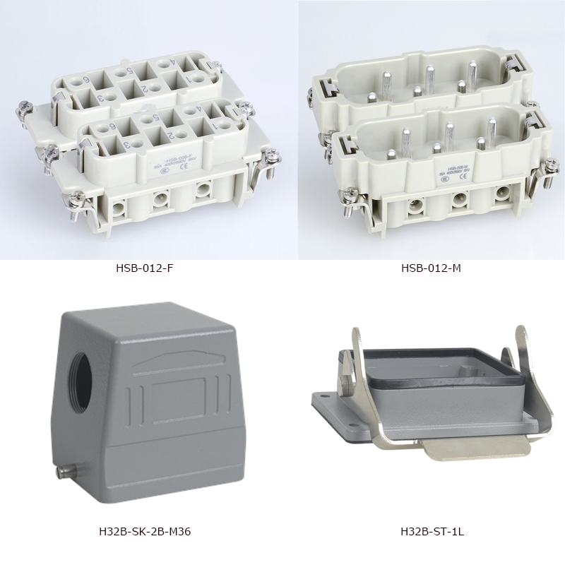 HSB-012 35A 12 Pins Heavy Duty Connector 600V Aviation side hood and housing female male insert behringer psu hsb all