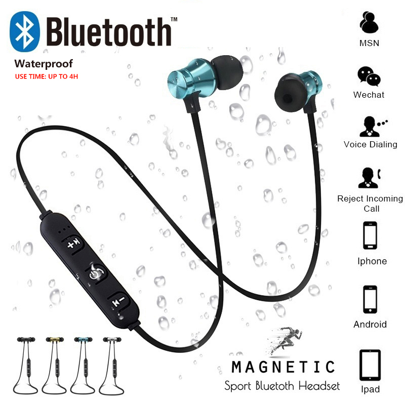 Magnetic Attraction Wireless Bluetooth Earphone Waterproof Sports 4.2 With Charging Cable Earbuds Headset Build-in Mic Headphone