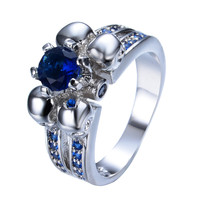 Personalized Blue Sapphire Zircon Stone Skull Ring Punk Style White Gold Filled Finger Ring For Women