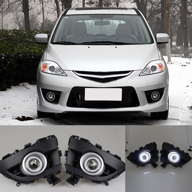 2pcs White LED original Daytime running Lights front Fog Lamp DRL For Mazda 5 2006 2007 2008 2009 2010