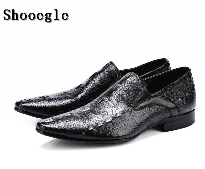 SHOOEGLE Vente Chaude De Luxe Hommes Alligator Peau Robe Chaussures En Cuir Noir Brun Mâle Fête De Mariage Chaussures pour Homme D'affaires des Chaussures
