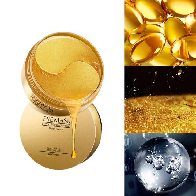 60pcs Gold Collagen Eye Mask Essence Remove Dark Circles Whitening Firming Sleep Mask Moisturizing Eye Patches Eyes Skin Care