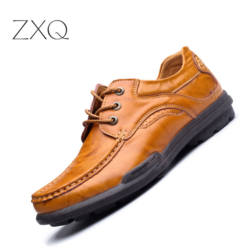 2017 New Men's Genuine Leather Casual Shoes Men Spring Autumn Men's Shoes Lace-Up Solid Men Flats Shoes men suede genuine leather boots men vintage ankle boot shoes lace up casual spring autumn mens shoes 2017 new fashion