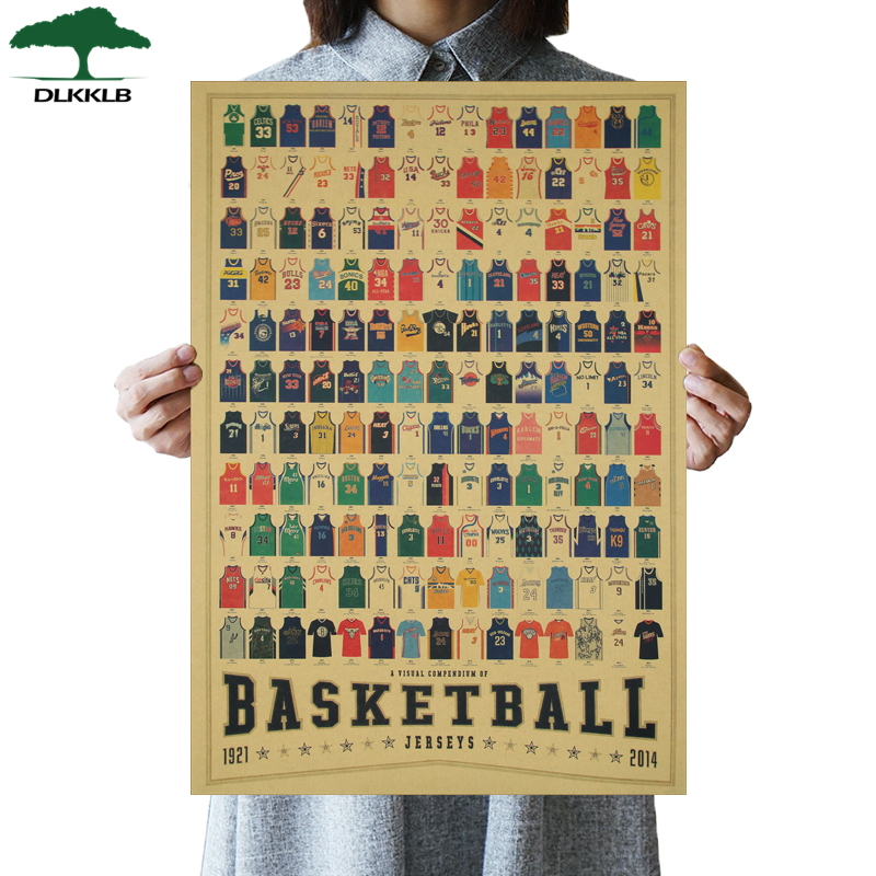 DLKKLB Basketball Clothing Collection Vintage Poster Bar Cafe Decor Painting Retro Basketball Sports Wall Stickers 51x35.5cm