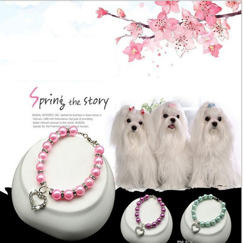 Beauty Rhinestones Imitation Pearls LoveDog Cat Collar Size S/M/L Adjust Love Puppy Collar Necklace Accessories for Pet Supplies