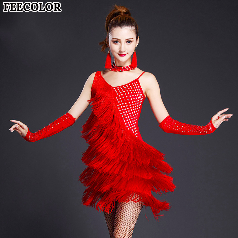 FEECOLOR 3pcs/set Womens Fringe Latin Costume set Salsa Ballroom Dance Competition Dress Clothing Wear Dress+Gloves+Necklace