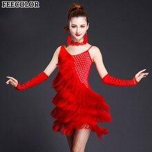 FEECOLOR 3pcs/set Womens Fringe Latin Costume set Salsa Ballroom Dance Competition Dress Clothing Wear Dress+Gloves+Necklace