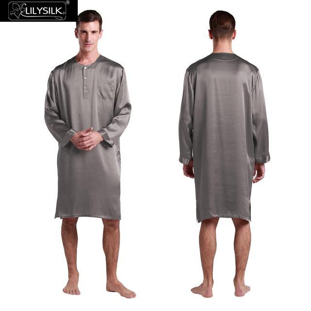 Mens Albornoz Kimono ropa de Dormir De Seda China 22 Momme Lilysilk Gris de Manga Larga de Lujo Hombre de Bata Camisón Salón de Invierno