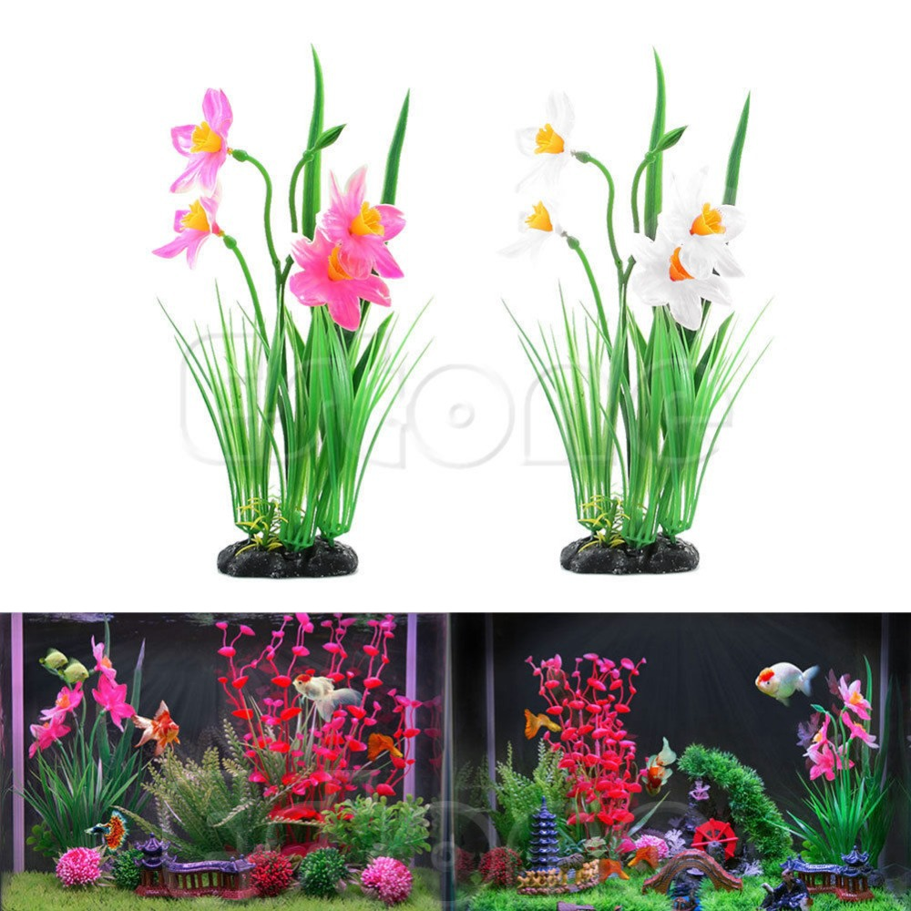 Aquarium fish tank online shopping - Aquarium Fish Tank Man Made Pink White Daffodils Flowers Plants Decoration China Mainland