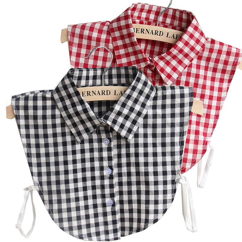 Plaid Detachable Collars For Women Tie Vintage White Black Fake Collar Lady Lace Denim False Collar Shirt Lapel Blouse Top Women