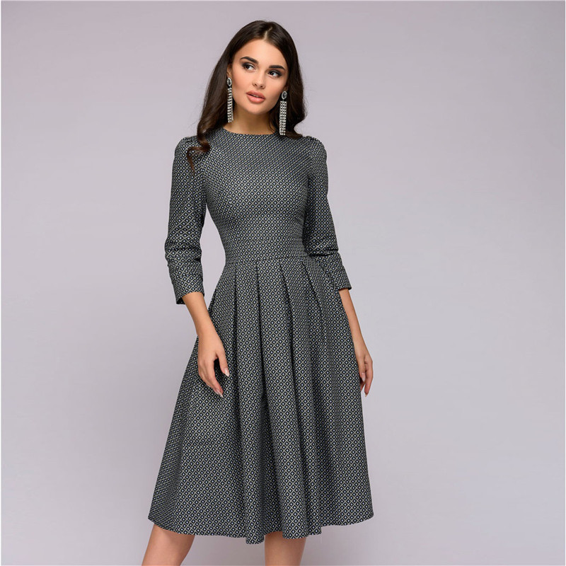 a7f6e61cc1 Womens Dresses New Arrival 2018 Fall Casual Printing Party Dress Ladies  Autumn Summer Vintage Christmas Dresses