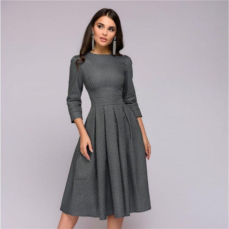 Vestidos das mulheres New Arrival 2018 Outono Impressão Ocasional Vestido de Festa Das Senhoras do Outono do Verão Do Vintage Do Natal Vestidos Plus Size