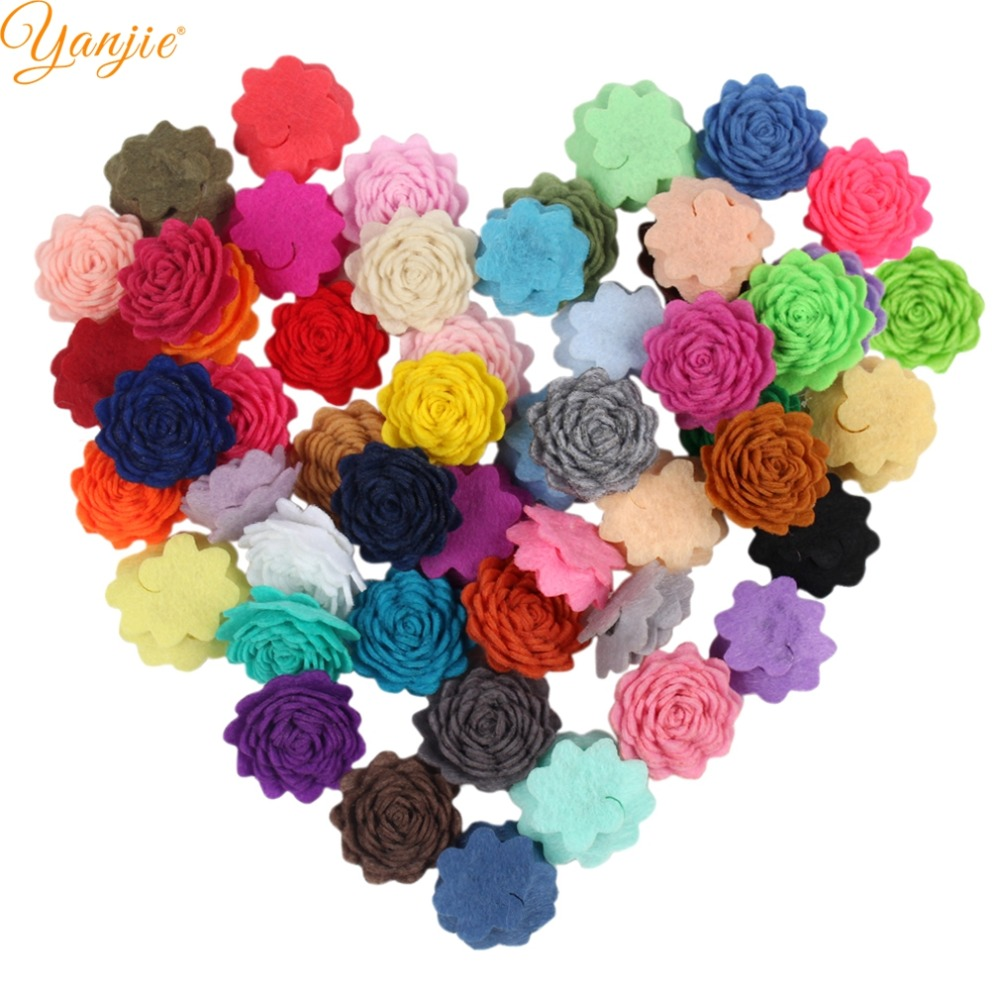 60pcs/lot 1'' Mini Felt Flowers For Girls And Kids 2019 Solid Wool Felt Rose Flowers Hair Bow Party DIY Hair Accessories