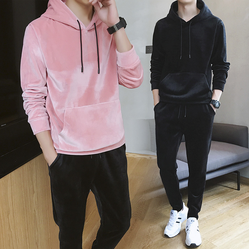 Autumn Men's New Loose Fashion Personality Temperament Youth Wild Solid Color Polyester Velvet Hooded Casual Sports Suit
