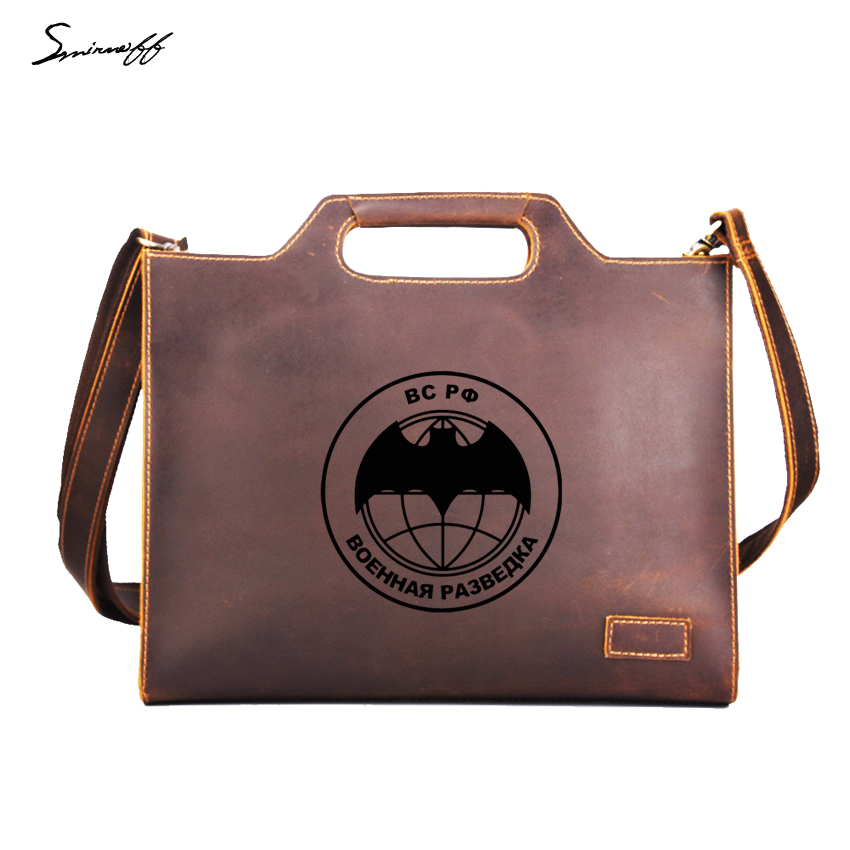 Russian Federation Military Intelligence Handbags Men Briefcase Genuine  Leather Laptop Bags Custom Name Messenger Bags Men e27665567c2ae