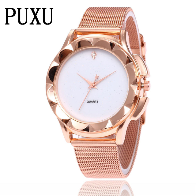 2018 New Fashion Unisex Women Ladies Golden Stainless Steel Mesh Band Silver Wri