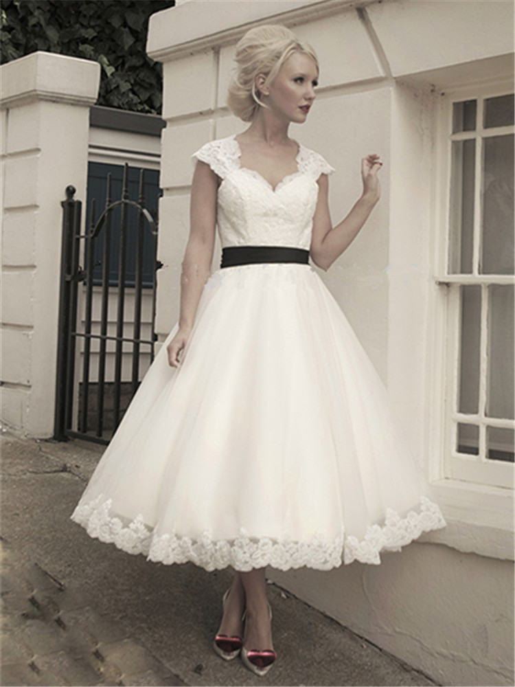 Short Wedding Dresses Tea Length 2015 Hot Sale Cap Sleeve Plus Size ...