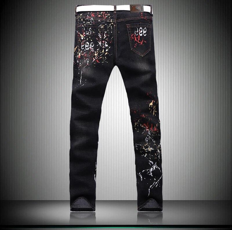 Super Kurus Slim Pensil Celana Pria Kepribadian Desain Graffiti Printed Denim Jeans Lukisan Pantalones Vaqueros Hombre 29 36 Jeans Aliexpress