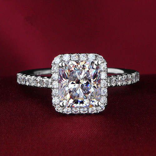 square cut synthetic diamonds ring for her genuine. Black Bedroom Furniture Sets. Home Design Ideas