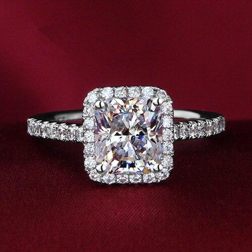 21a573fc06b1 2.35Ct cuadrado corte diamantes sintéticos para su anillo genuino 925 anillo  de oro blanco color celoso promesa joyería en Anillos de Joyería y  accesorios ...