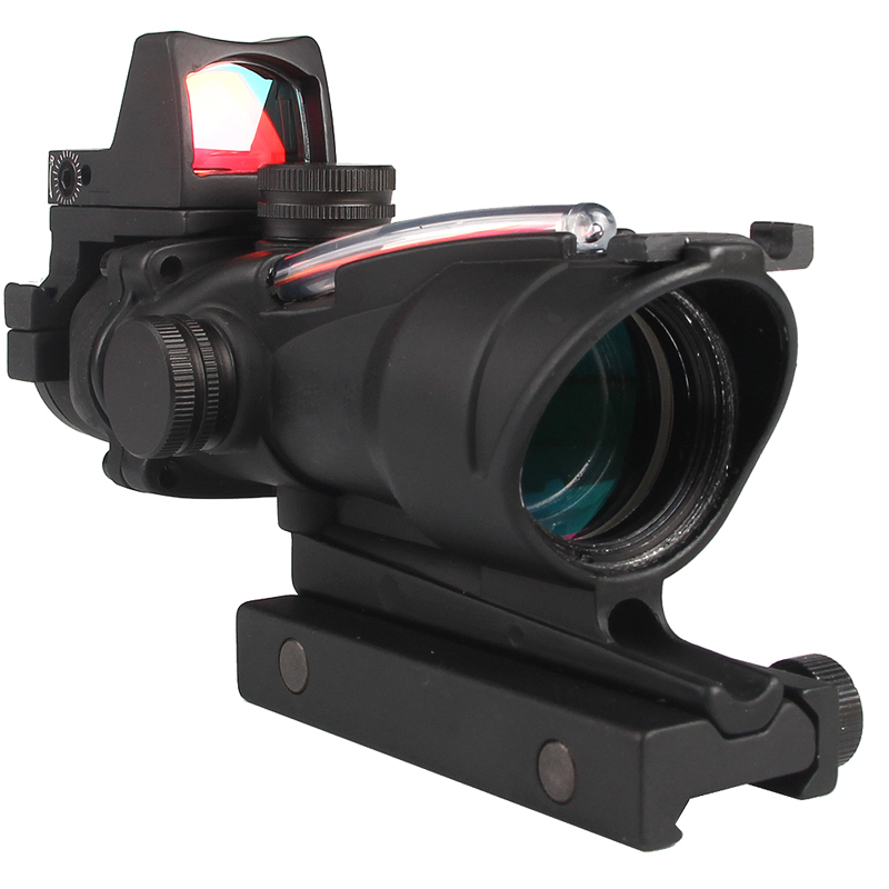 Tactical Riflescope 4X32 Rifle Scope W/Real Red Green Fiber Mini Red Dot Sight For Airsoft Hunting Shooting Rifle Shotgun 6-0058 trijicon mro airsoft holographic red dot sight shotgun scope hunting riflescope illuminated sniper gear for tactical rifle scope