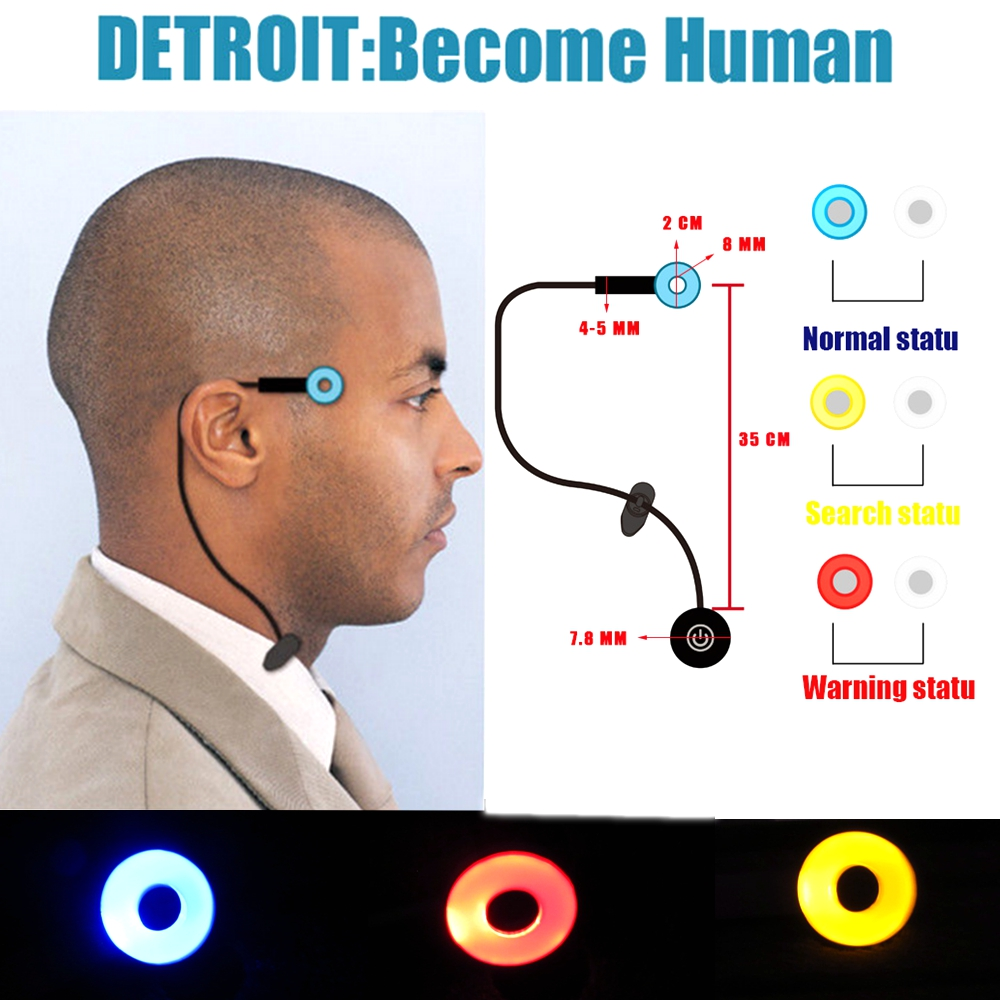 Hot Game Detroit : Become Human Cosplay Connor Wireless Temple Led Light RK800 Halloween Party temporal Status Light Props