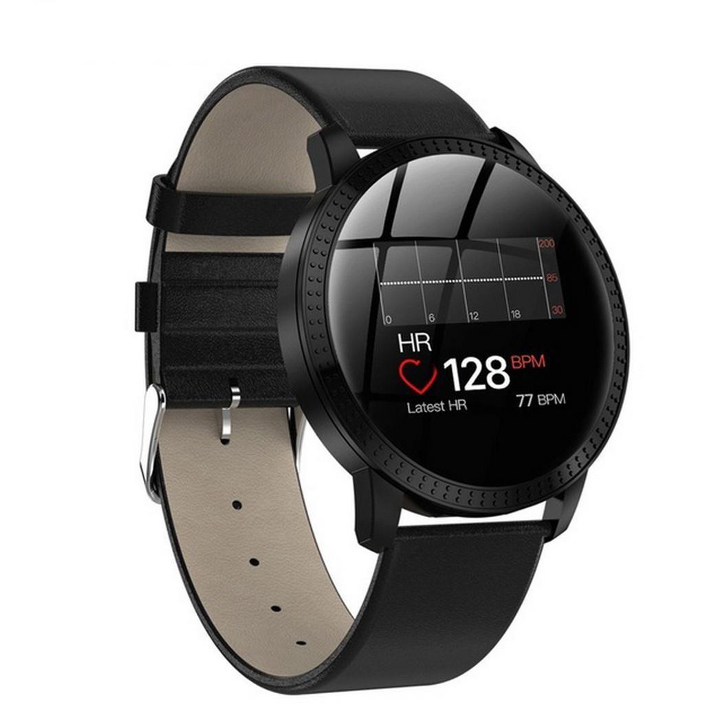 Surveillance de fréquence cardiaque en métal écran rond étanche sport Bracelet montre intelligente