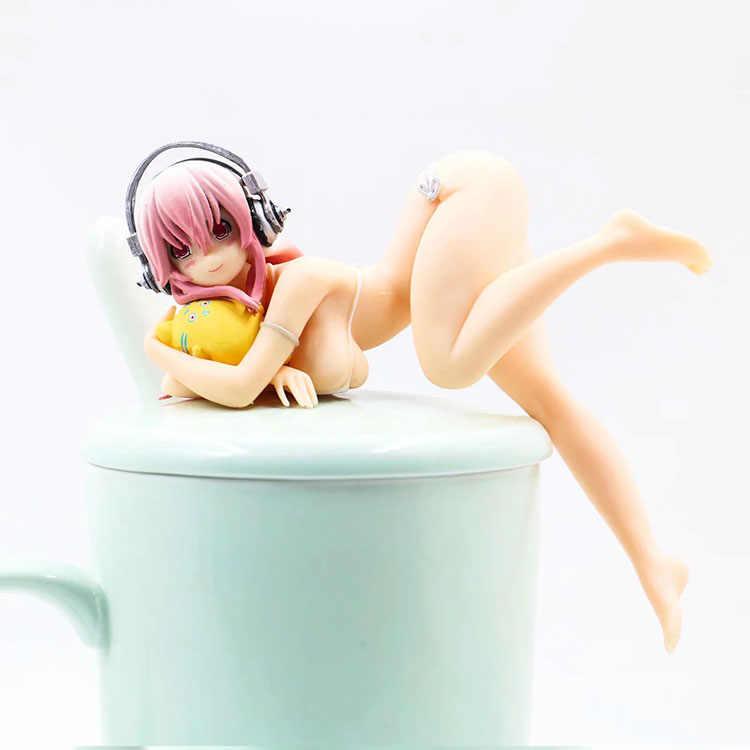 Super Sonico Putih Bikini Perpanjangan PVC Action Figure Koleksi Model Mainan Boneka 10 Cm