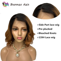 Glueless ombre 1b 30 short bob wavy lace front wig Brazlian human hair lace front wig natural hairline baby hair bleached knots