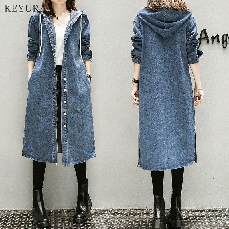 XL-5XL grande taille Denim manteau femmes printemps automne hiver 2019 Feminina mode nouveau mince lâche Long Jean Trench femme L2327