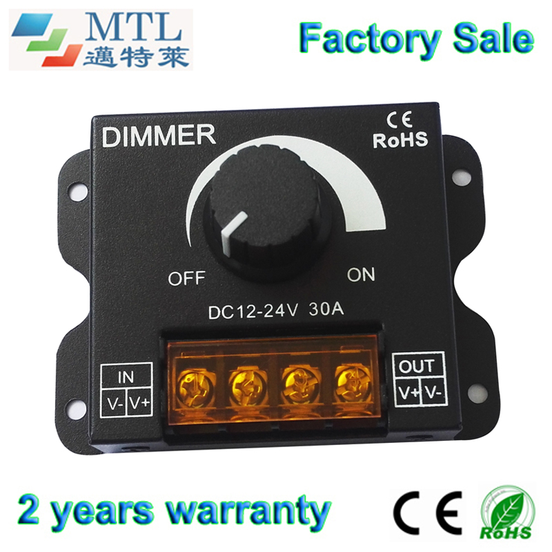 LED dimmer controller <font><b>12</b></font>-24V / <font><b>30A</b></font>, Iron shell, 10 pcs/lot, manual switch, for single color LED strip, Factory Wholesale image