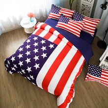 American Flag 3 Pieces Polyester Bedding Sets Duvet Cover 3D Printing Beddings set CN USA UK AU Size(China)
