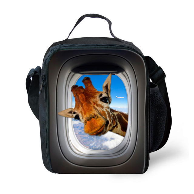 New Design 3D Animal Lunch Bag for Children Cute Giraffe Kids Thermal Lunch Box Fashion Horse Printing Shoulder Bag for Picnic