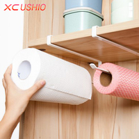 Kitchen Roll Paper Holder Bathroom Towel Rack Toilet Paper Rack Cupboard Door Paper Hanging Shelf Storage