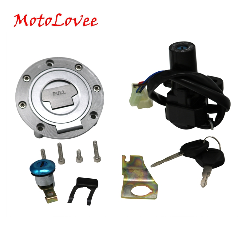 Motolove Motorcycle Ignition Switch Fuel Tank Cover Lock Assembly With Key Gas Cap Engine Hook Locking Key 1992-2013