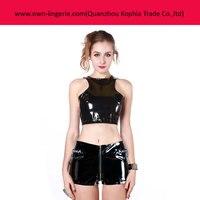 2016 Black Zipper Short Pants And Zipper Tops For Sexy Girls Club Vinyl Pants And Vinyl