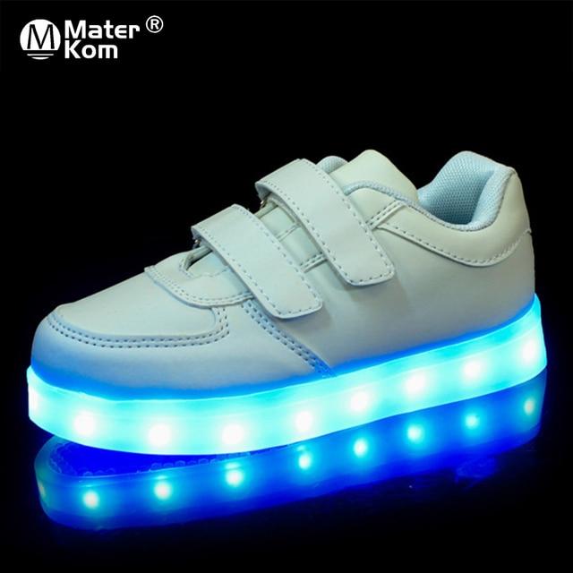ขนาด25 37 USBเด็กรองเท้าเด็กรองเท้าผ้าใบส่องสว่างสำหรับBoys & Girlsรองเท้าLed Krasovki Backlight lightedรองเท้า