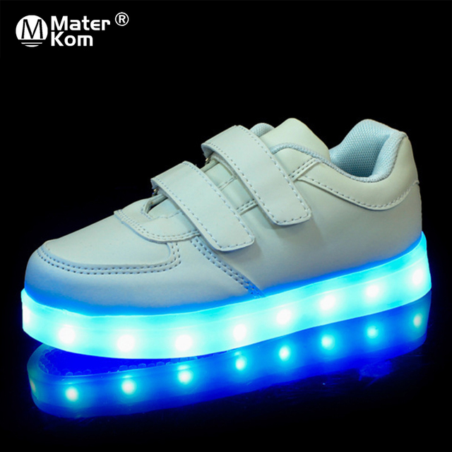 حجم 25 37 USB الأطفال أحذية خفيفة الاطفال مضيئة أحذية رياضية للبنين والبنات Led أحذية Krasovki مع الخلفية مضاءة الأحذية