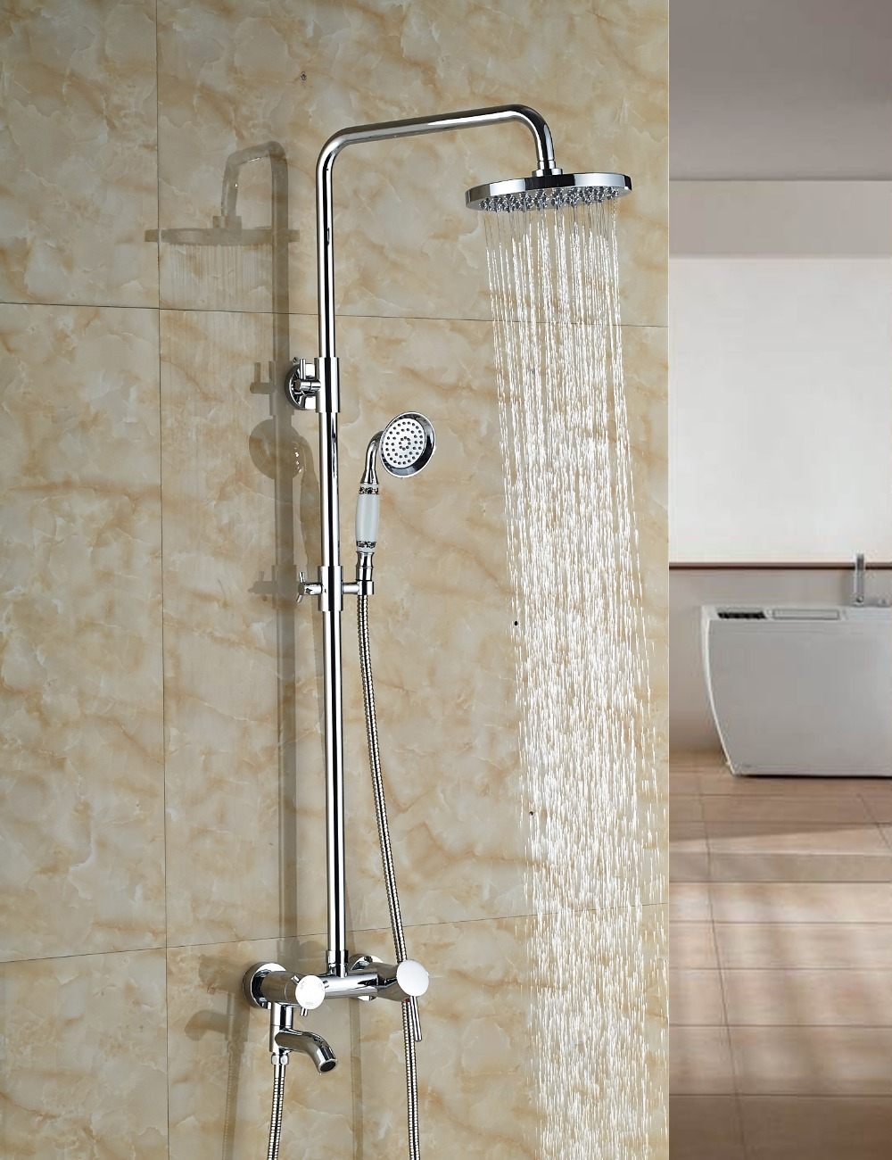Wholesale And Retail Wall Mounted Chrome Finish Round Rain Shower Head Faucet Single Handle Tub Valve Mixer Tap Shower new chrome finish wall mounted bathroom shower faucet dual handle bathtub mixer tap with ceramic handheld shower head wtf931