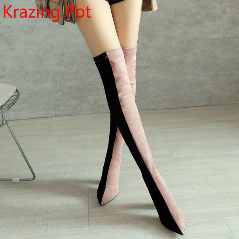 2019 Superstar Mixed Colors Keep Warm Pointed Toe Winter Boots Superstar Stretch Thigh High Boots Sweet
