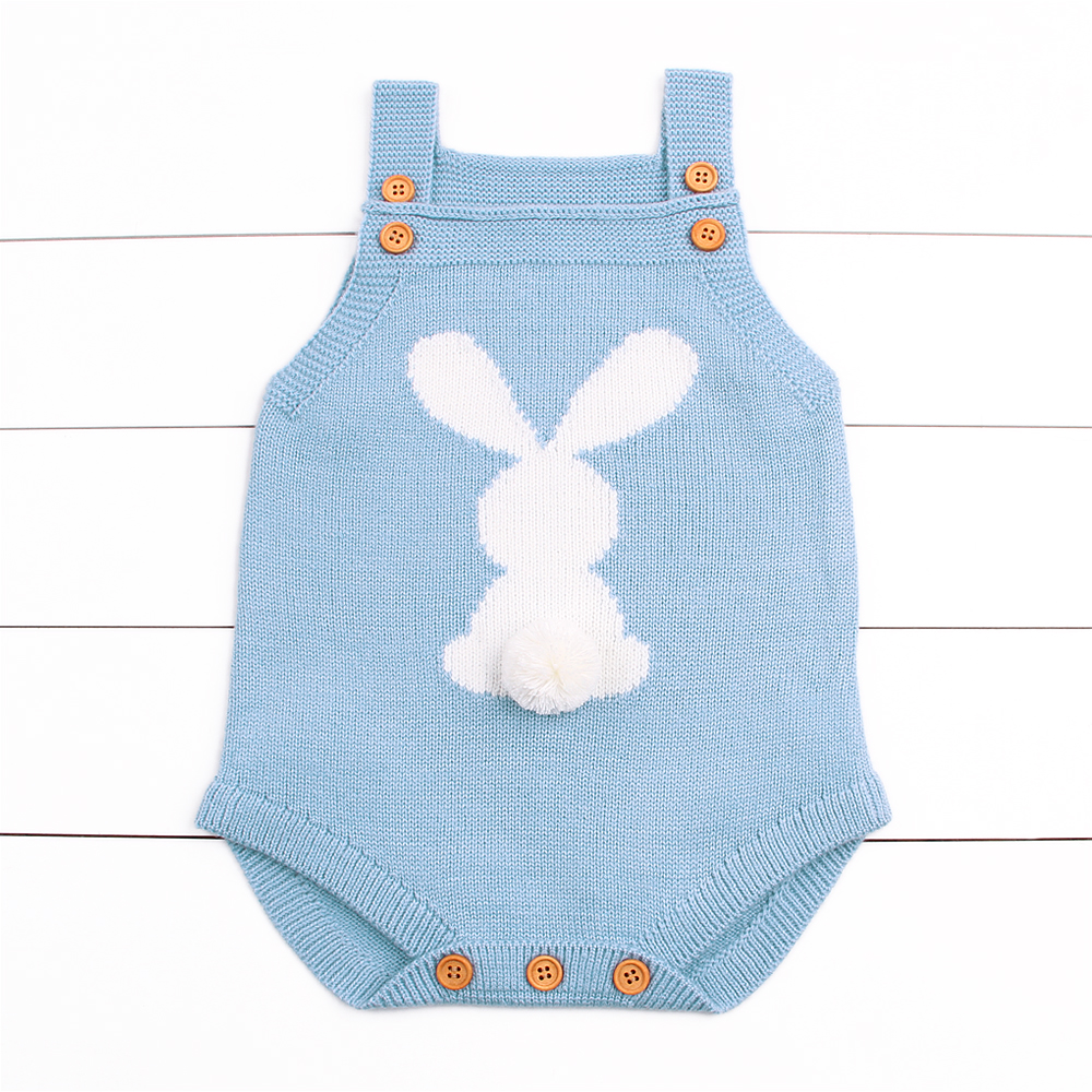 Newborn Baby Bodysuits Adorable Rabbit Pattern Girl Boy Knit Jumpsuits Toddler Infant Funny Onsie Fall Spring Outerwear Clothes